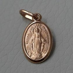 Immagine di Madonna Miracolosa Regina sine labe originali concepta o.p.n. Medaglia Sacra Pendente ovale Conio gr 1,4 Oro rosa 18kt Unisex Donna Uomo