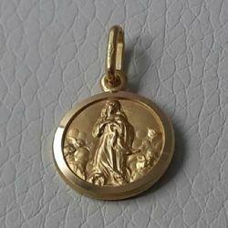 Immagine di Maria Madonna Immacolata Medaglia Sacra Pendente tonda Conio gr 2,1 Oro giallo 18kt con bordo liscio da Donna