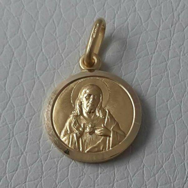 Imagen de Sagrado Corazón de Jesús Medalla Sagrada Colgante redonda Acuñación gr 2,1 Oro amarillo 18kt con borde liso Unisex Mujer Hombre