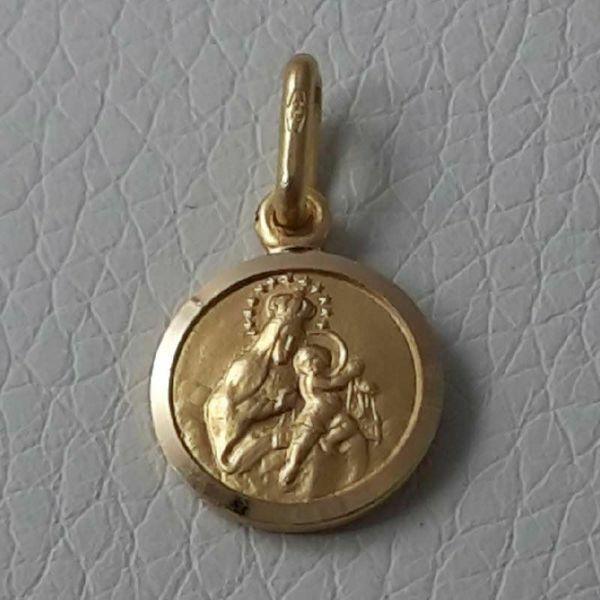 Imagen de Sagrado Corazón de Jesús y Nuestra Señora Virgen del Carmen Medalla Sagrada escapular Colgante redonda Acuñación gr 1,8 Oro amarillo 18kt con borde liso