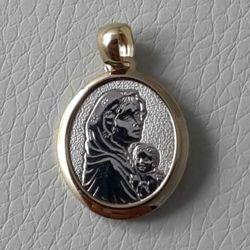 Imagen de Medalla Colgante Oro amarillo y Oro blanco 18 kt Virgen con Niño gr.2,40