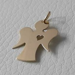 Picture of Guardian Angel with Heart Pendant gr 1 Yellow Gold 18k for Children (Boys and Girls)