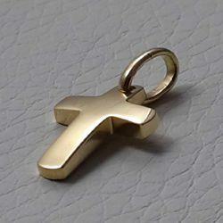 Immagine di Croce dritta bombata Ciondolo Pendente gr 1,5 Oro giallo massiccio 18kt Unisex Donna Uomo