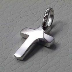 Immagine di Croce dritta bombata Ciondolo Pendente gr 1,45 Oro bianco massiccio 18kt Unisex Donna Uomo