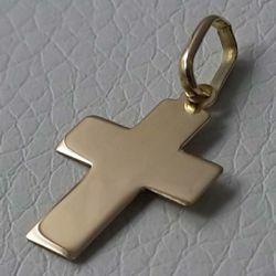 Immagine di Croce dritta liscia Ciondolo Pendente gr 0,8 Oro giallo 18kt lastra stampata a rilievo Unisex Donna Uomo