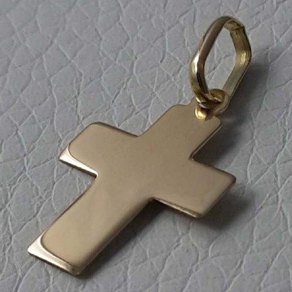 Picture of Smooth Straight Cross Pendant gr 0,8 Yellow Gold 18k relief printed plate Unisex Woman Man
