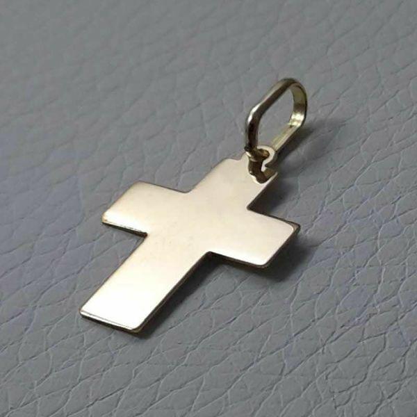 Immagine di Croce dritta liscia Ciondolo Pendente gr 1 Oro giallo 18kt lastra stampata a rilievo Unisex Donna Uomo
