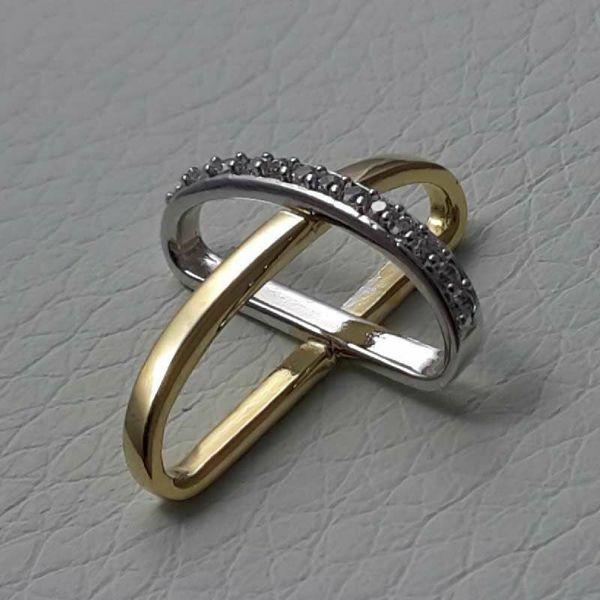 Immagine di Croce con bracci ad anello e punti luce Ciondolo Pendente gr 1,6 Bicolore Oro giallo bianco 18kt con Zirconi da Donna