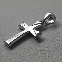 Immagine di Croce doppia lavorata Ciondolo Pendente gr 1,2 Oro bianco 18kt a Canna vuota Unisex Donna Uomo