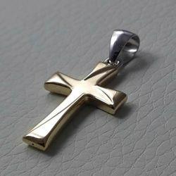 Immagine di Croce doppia lavorata Ciondolo Pendente gr 1,2 Bicolore Oro giallo bianco 18kt a Canna vuota Unisex Donna Uomo