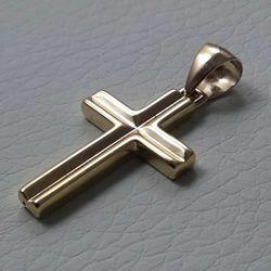 Immagine di Croce dritta rigata concava Ciondolo Pendente gr 1,3 Oro giallo 18kt a Canna vuota Unisex Donna Uomo