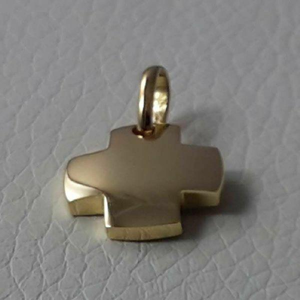 Immagine di Croce quadrata liscia Ciondolo Pendente gr 2,6 Oro giallo massiccio 18kt da Donna