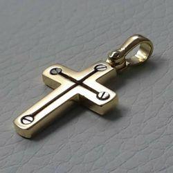 Immagine di Croce design stile moderno con viti Ciondolo Pendente gr 2,7 Bicolore Oro massiccio giallo bianco 18kt da Uomo