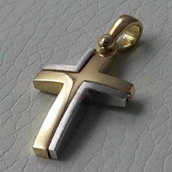 Immagine di Croce doppia moderna Ciondolo Pendente gr 2,7 Bicolore Oro massiccio giallo bianco 18kt Unisex Donna Uomo
