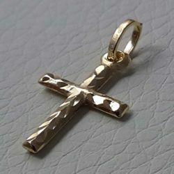 Immagine di Croce dritta lavorata Ciondolo Pendente gr 0,45 Oro giallo 18kt a Canna vuota Unisex Donna Uomo
