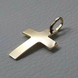 Immagine di Croce bombata liscia Ciondolo Pendente gr 1,8 Oro giallo 18kt lastra stampata a rilievo Unisex Donna Uomo