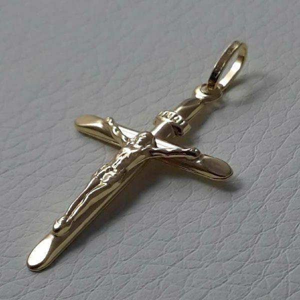 Immagine di Croce con corpo di Cristo e INRI Ciondolo Pendente gr 1,05 Oro giallo 18kt a Canna vuota Unisex Donna Uomo