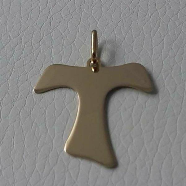 Immagine di Croce Tau di San Francesco Ciondolo Pendente gr 1,5 Oro giallo 18kt lastra stampata a rilievo Unisex Donna Uomo
