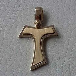 Picture of Saint Francis double Tau Cross Pendant gr 2,4 Yellow solid Gold 18k for Man