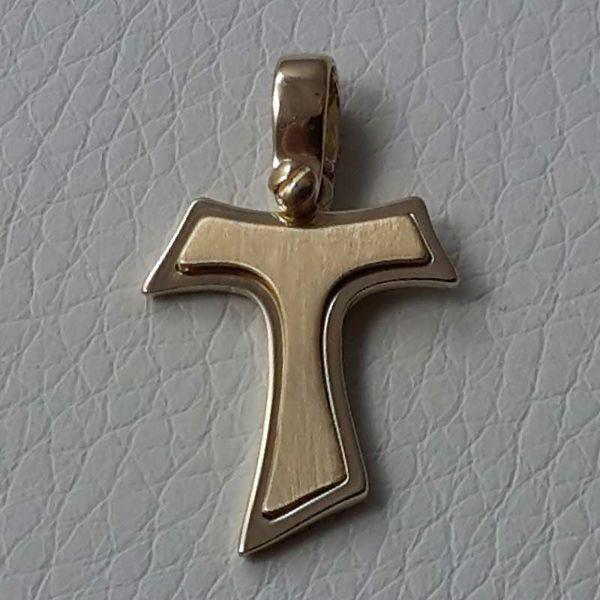 Immagine di Croce Tau di San Francesco doppia Ciondolo Pendente gr 2,4 Oro giallo massiccio 18kt da Uomo