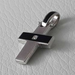 Picture of Cross Pendant Silver 925 Cubic Zirconia and Enamel gr.2,70 Unisex Woman Man