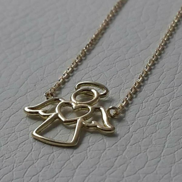 Picture of Necklace Yellow Gold 18 kt Angel with Heart gr.2,30 for Woman and Girl