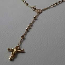 Picture of Rosary Necklace Gold 18 kt Miraculous Medal crucifix INRI gr.8,50 Unisex Woman Man