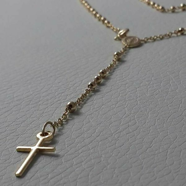 Picture of Long Rosary crew-neck Necklace with Miraculous Medal of Our Lady of Graces and Cross gr 6,4 Yellow Gold 18k with Diamond Spheres for Woman