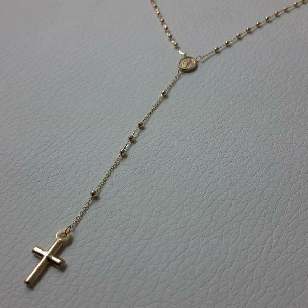 Immagine di Collana Girocollo Rosario con Medaglia Madonna Miracolosa e Croce gr 2,7 Oro giallo 18kt con Sfere lisce da Donna