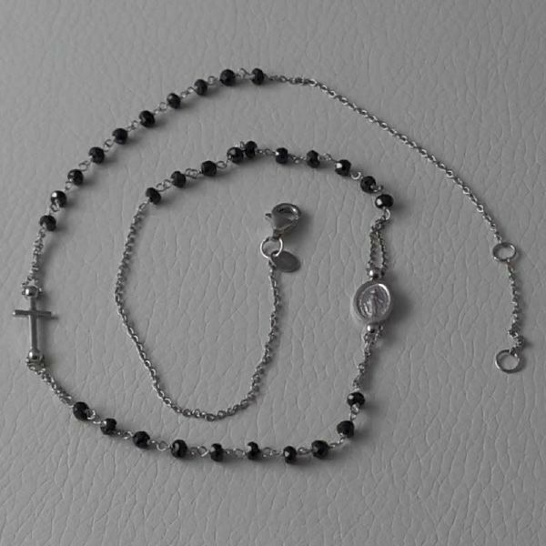 Picture of Rosary crew-neck Necklace with Miraculous Medal of Our Lady of Graces and Cross and through Chain gr 5 White Gold 18k with Onyx Unisex Woman Man