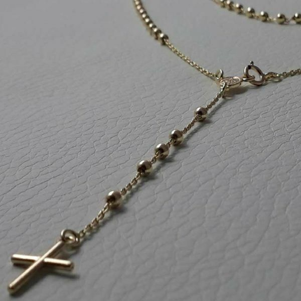 Picture of Rosary crew-neck Necklace with Miraculous Medal of Our Lady of Graces and Cross gr 3,3 Yellow Gold 18k with Smooth Spheres for Woman