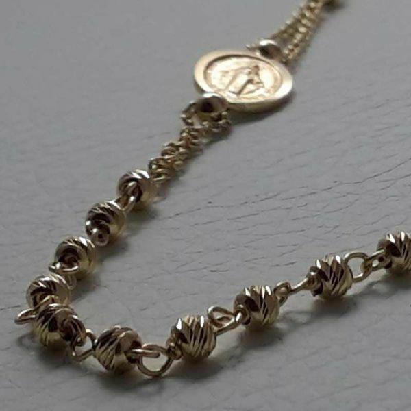 Imagen de Collar Rosario Cuello Redondo con Medalla Nuestra Señora Milagrosa y Cruz gr 4,8 Oro amarillo 18kt con Esferas diamantadas para Mujer