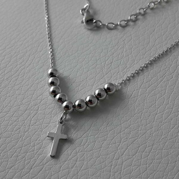 Picture of Necklace Silver 925 Glossy Spheres Cross gr.3,10 for Woman