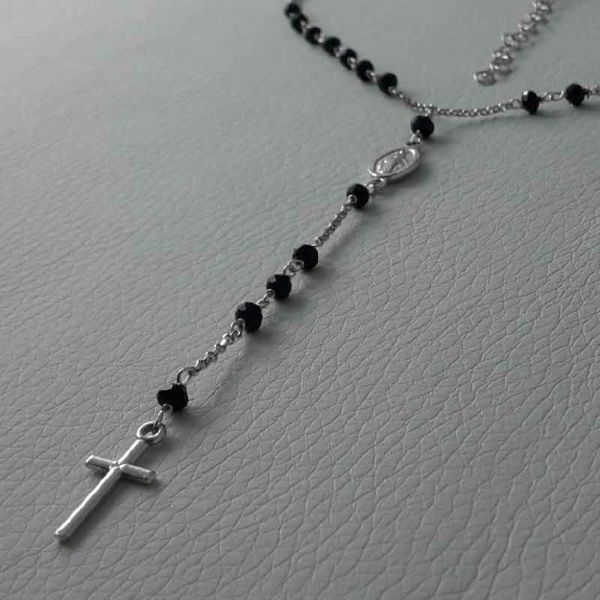 Picture of Rosary Necklace Silver 925 black Stones Miraculous Medal Cross gr.5,30 for Woman