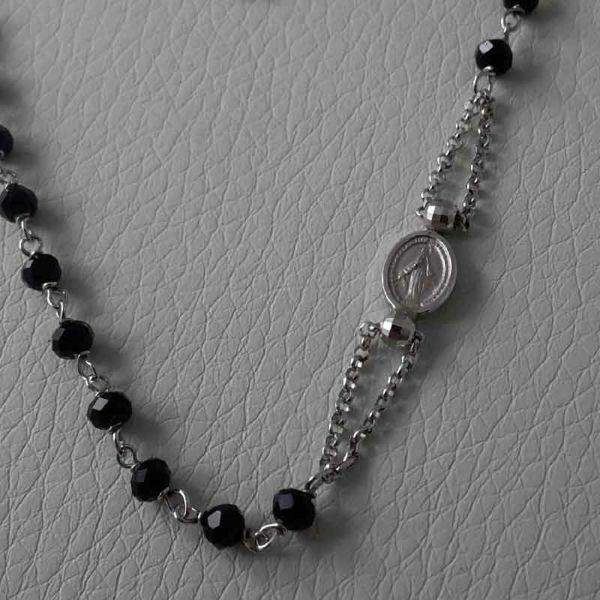 Imagen de Collar Rosario Plata 925 Piedras negras Virgen Milagrosa Cruz gr.5,30 para Mujer