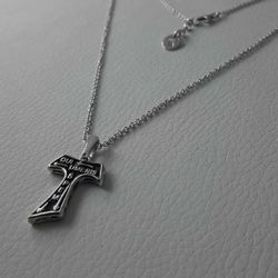 Picture of Necklace Silver 925 Cubic Zirconia St. Francis Tau Cross gr.4,90 for Woman