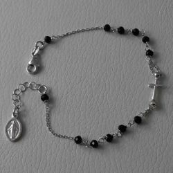 Picture of Rosary Bracelet Silver 925 black Stones Miraculous Medal Cross gr.3,10 Unisex Woman Man