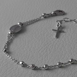 Picture of Bracelet Silver 925 Miraculous Medal Our Lady of Graces Cross gr.2,60 for Woman and Girl