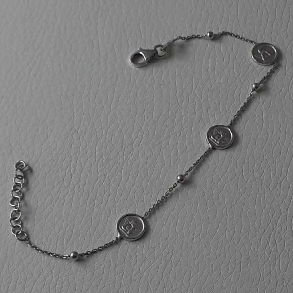 Imagen de Pulsera Plata de ley 925 Tres Medallas Ángel de la Guarda gr.2,90 para Mujer y Niña