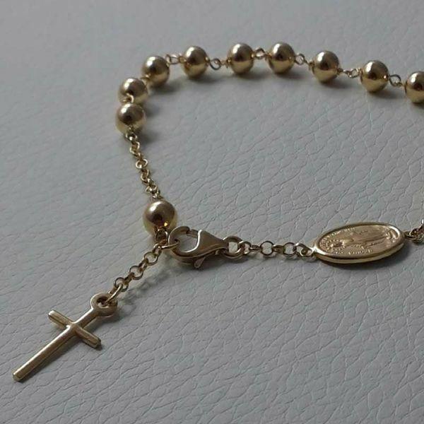 Immagine di Bracciale Rosario con Medaglia Madonna Miracolosa e Croce gr 7,3 Oro giallo 18kt con Sfere lisce Unisex Donna Uomo