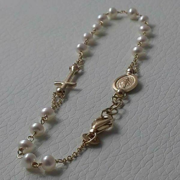 Immagine di Bracciale Rosario con Medaglia Madonna Miracolosa e Croce catena passante gr 3,2 Oro giallo 18kt con Perle da Donna