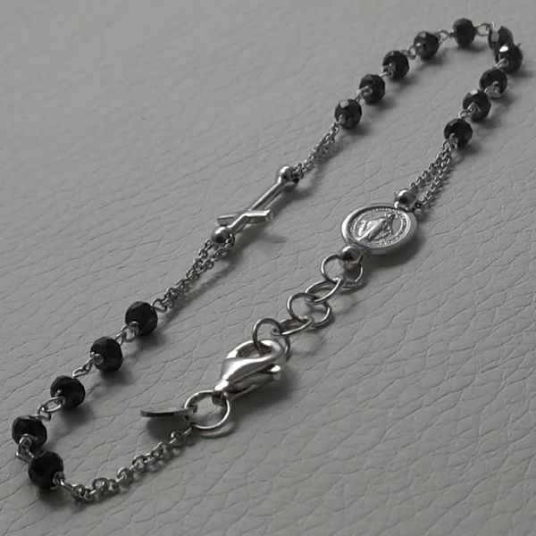 Picture of Rosary Cuff Bracelet with Miraculous Medal of Our Lady of Graces and Cross and through Chain gr 3,6 White Gold 18k with Onyx Unisex Woman Man