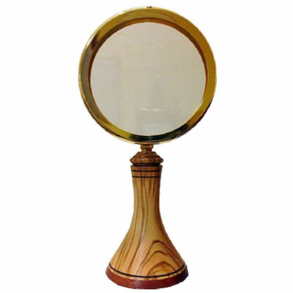 Picture of Eucharistic Shrine Monstrance for Magna Hosts H. cm 32 cm (12,6 inch) in Olive Wood of Assisi