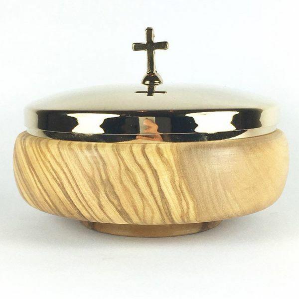 Imagen de Patena Litúrgica Diám. cm 12 (4,7 inch) con Tapa Acabado liso de Madera de Olivo de Asís