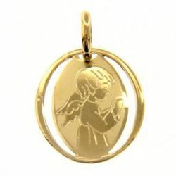 Immagine di Angelo Custode in preghiera Medaglia Sacra Pendente ovale gr 0,7 Oro giallo 18kt per Bimba e Bimbo