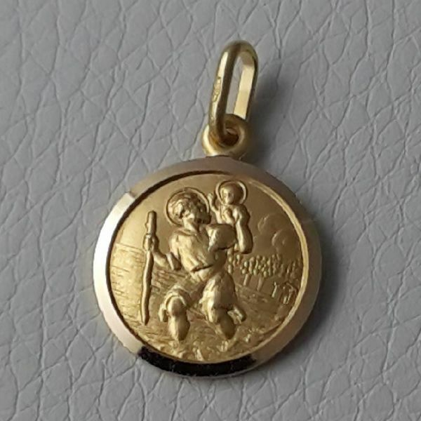 Immagine di San Cristoforo con bambino e bastone Medaglia Sacra Pendente tonda Conio gr 2,5 Oro giallo 18kt con bordo liscio da Uomo