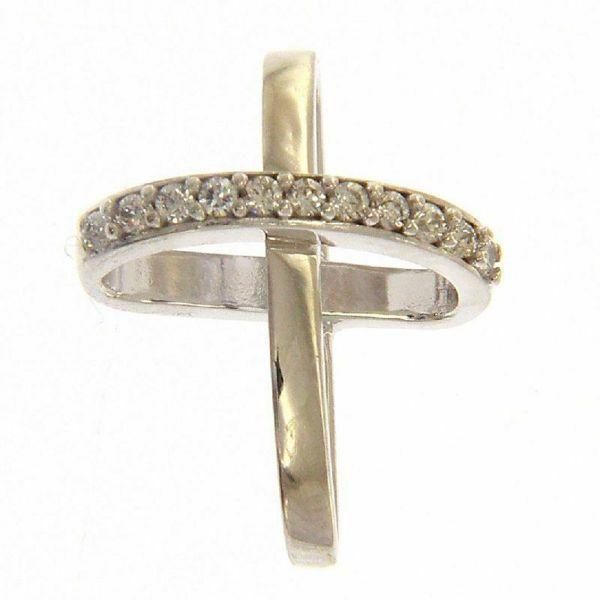 Imagen de Cruz con brazos de anillo y puntos de luz Colgante gr 1,15 Oro blanco 18kt con Zircones para Mujer