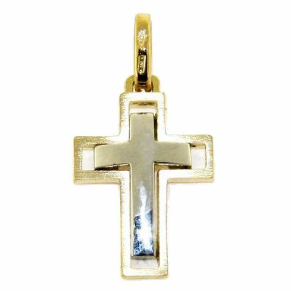 Picture of Double arch Cross Pendant gr 3 Bicolour yellow white solid Gold 18k for Man
