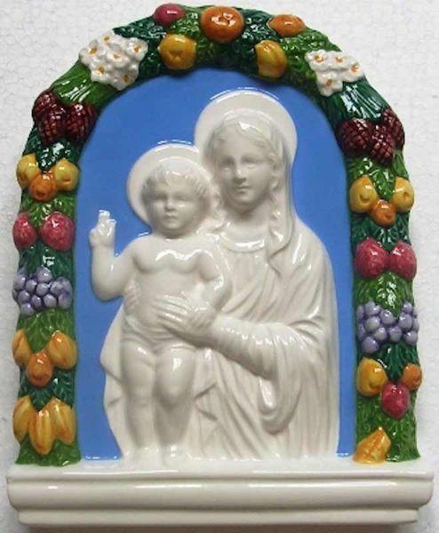 Imagen de Virgen con el Niño Retablo de pared cm 20x16 (7,9x6,3 in) Bajorrelieve Cerámica Della Robbia