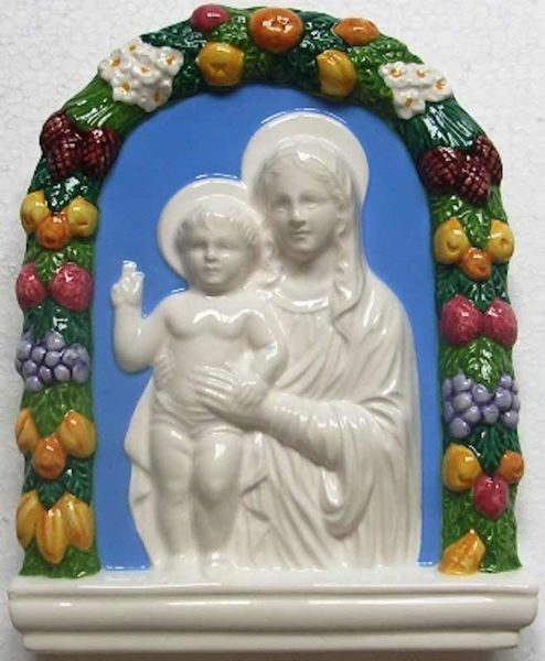 Picture of Madonna and Child Wall Panel cm 20x16 (7,9x6,3 in) Bas relief Glazed Ceramic Della Robbia